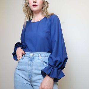 Vintage navy blue balloon sleeve blouse S